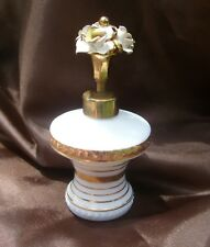 Vintage Irice Flower-Top White Opaque Milk-Glass Perfume Bottle France