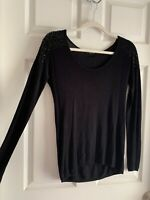 Small Express Black Studded Long Sleeve Shirt Sweater Bling Blouse Cozy Knit