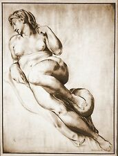 OLD MASTER  DRAWING OF A MICHELANGELO SCULPTURE.    FREE SHIPPING.