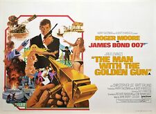 MAN WITH THE GOLDEN GUN Original 1974 British Quad Linen Backed James Bond 007
