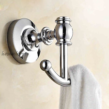 Polished Chrome Brass Wall Mount Bathroom Double Robe Towel Hook Clothes Hanger