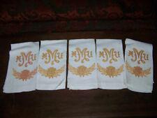 Vntg NAPKINS Monogram Heavy Linens Dish Towel Tea Towel Embroidery MMU beauty x5