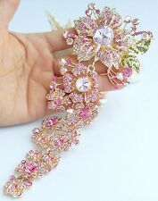 """Gorgeous 7.28"""" Pink Austrian Crystal Pendant Orchid Flower Brooch Pin 04704C4"""