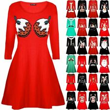 Womens Ladies Christmas Pudding Cup Cakes Boobs Funny Novelty Swing Mini Dress