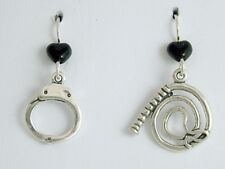 Sterling silver Whip and Handcuff dangle earrings- naughty- Hand cuff,dominatrix