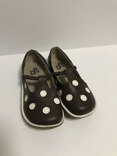 PJs  Puddle Jumper BROWN WITH WHITE POLKA DOTS LEATHER GIRLS SIZE 12