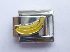 SILVER BANANA FRUIT CLASSIC ITALIAN CHARM FITS ALL 9mm BRACELETS O14