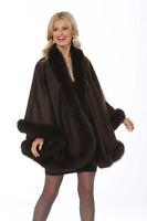 Womens Fur Trimmed Cashmere Shawl with Fox Fur Trim Dark Brown - Your Lady
