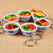 New Simulation Food Noodles Porcelain Bowl Special KeyChain Keyring Bag Pendant