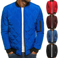 Mens Padded Quilted Puffer Bomber Jacket Zipper Coat Outwear Winter TopsCasuPLBE