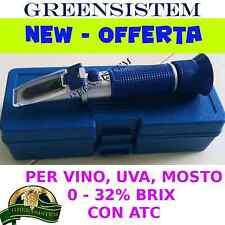 RIFRATTOMETRO-REFRATTOMETRO 0-32 BRIX CON ATC PER UVA, MOSTO, VINO - GREENSISTEM