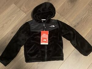 NWT The North Face Black Oso Fleece Hoodie Jacket Full Zip XS 6  Girl's Youth