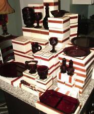 Avon 1876 Cape Cod RED glass Dinnerware Collection SERVICE FOR 12 NIB