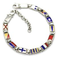 "925 STERLING SILVER BRACELET GLAZED NAUTICAL FLAGS, 0.2"" WIDTH, 7.1-8.3"" LENGTH"