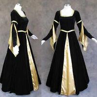Medieval Renaissance Black Gold Gown Dress Costume Goth Wedding 4X