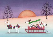 Jack Russell Terrier (Jrt Parson) family takes sled ride / Lynch folk art print