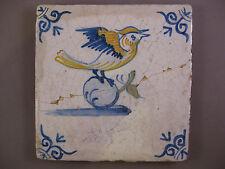Antique Dutch Polychrome animal tile bird rare tiles 17th- free shipping