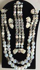 Vintage Schiaparelli Parure~Lava Rock Necklace Bracelet Earrings Set~Signed
