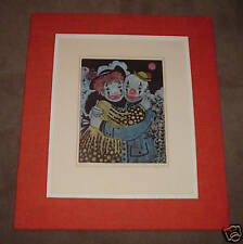"""LOUISE AUGUST unusually framed """"CLOWN LOVERS"""" 64/220"""