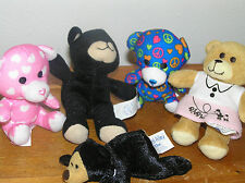 Estate Lot of 4 + 1 Mini Build-A-Bear Pink & White HEART Peace READ & Dimples