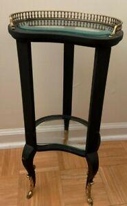 Kidney Shape Side Table Gilt Ormolu Hoof Feet Black Gallery Bevel Glass Shelves