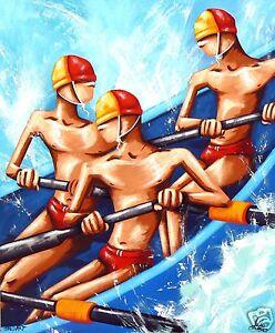 Surf life Saving Boat surfing waves Australia Beach Rowing COA painting
