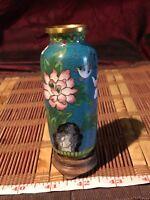 """Asian Cloisonné Brass & Enamel Vase w/ Floral & Attached Stand 4 3/4""""x1 3/4"""""""