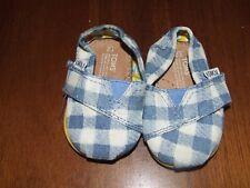 Tiny Toms Sz 2 Classic Canvas Shoes Blue White Plaid Velcro Slip On Infant Boy