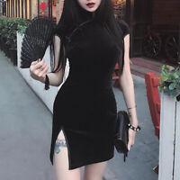 Chinese Cheongsam Velvet Dresses Women Bodycon Retro Split Mini Elegant Qipao QA