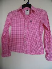 GILLY HICKS Women S Plaid Blouse Button Down  Top Shirt Rockabilly Pink White