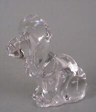 Daum France Crystal Art Glass Miniature Basset Hound Dog Figurine Clear