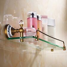 Antique Brass Durable Glass Shelf Holder Wall Mounted  Bathroom Towel Rail Rack