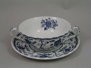 RARE JOHNSON BROTHERS INDIES TWO HANDLED SOUP COUPE AND SAUCER.