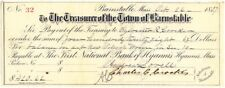 1887 Check, THE TREASURER OF THE TOWN OF BARNSTABLE, MASSACHUSETTS