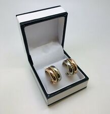 9ct two tone Round earrings butterfly fitting total weight 3.72 Grams boxed