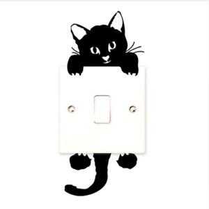 Black Cute Cat Light Switch Decal Vinyl Art 3D Wall Sticker Cat Lover Gifts