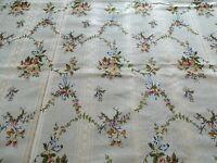 "Antique French Cream Floral Silk Brocade Textiles Fabric Yardage 53.5"" x 49"""
