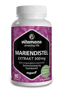 (€29,85/100g) Mariendistel Extrakt 500 mg, 80% Silymarin , 90 vegane Kapseln