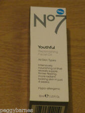 No7 YOUTHFUL REPLENISHING FACIAL OIL 30ml new/boxed ALL SKIN TYPES