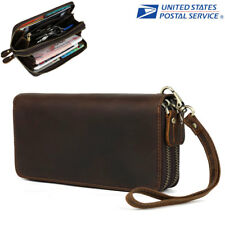 Vintage Dual Zipper Men Clutch Wallet Genuine Leather ID Cards Phone Holder Long