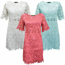 Floral Lace Short Sleeve Tunic Dresses for Women