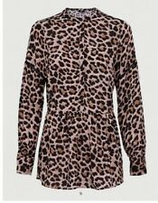 V By Very Button Through Drop Hem Blouse - Animal Print Size 16