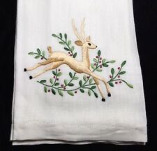 Reindeer Christmas Vintage Madeira Embroidered Linen Guest Towels - Set of 2