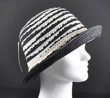 "Jeanne Simmons Black Band Hat Beige Lace Trim Bucket Sun Packable 2.5"" Brim Y6"