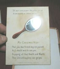 More details for antique edwardian card my christmas wish mirror original box h.h. & co