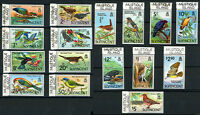 St. Vincent Bird Stamps w/ Mustique Is Printed Selvedge 1970 Scott # 279 - 294
