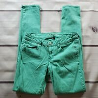 American Eagle Skinny Jeans Women's Size 8 X-Long Green Blue Low Rise Stretch