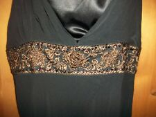 NEW JOHN LEWIS BLACK 100% SILK LADIES PARTY DRESS BROWN SEQUIN EMBROIDERY SZE 12