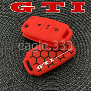 Protect key case cover fob for VW Golf GTi Volkswagen silicone fits.GTi keychain