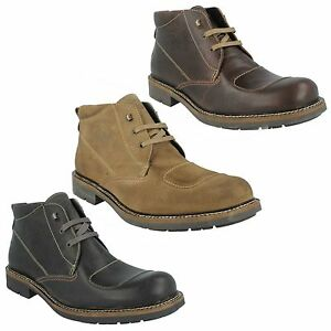 MENS BASE LONDON STROKE LEATHER LACE UP CASUAL BIKER CHUKKA STYLE ANKLE BOOTS